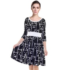 Funny Cat Pattern Organic Style Minimalist On Black Background Quarter Sleeve Waist Band Dress