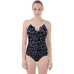 Funny Cat Pattern Organic Style Minimalist On Black Background Cut Out Top Tankini Set