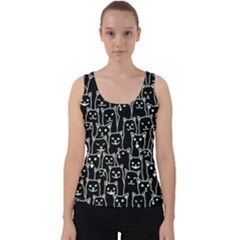 Funny Cat Pattern Organic Style Minimalist On Black Background Velvet Tank Top