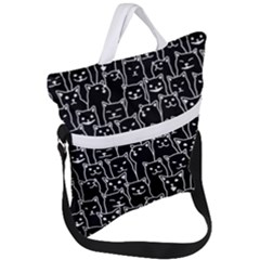 Funny Cat Pattern Organic Style Minimalist On Black Background Fold Over Handle Tote Bag by genx
