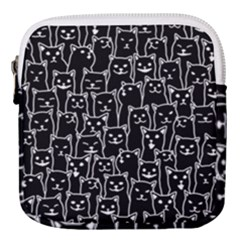 Funny Cat Pattern Organic Style Minimalist On Black Background Mini Square Pouch by genx