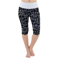 Funny Cat Pattern Organic Style Minimalist On Black Background Lightweight Velour Cropped Yoga Leggings by snek