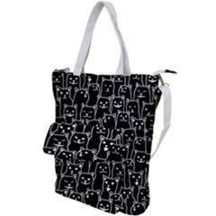 Funny Cat Pattern Organic Style Minimalist On Black Background Shoulder Tote Bag