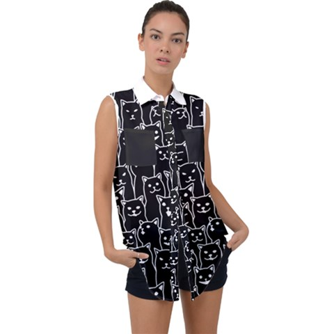 Funny Cat Pattern Organic Style Minimalist On Black Background Sleeveless Chiffon Button Shirt by genx