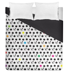 Boston Terrier Dog Pattern With Rainbow And Black Polka Dots Duvet Cover Double Side (queen Size)