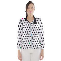 Boston Terrier Dog Pattern With Rainbow And Black Polka Dots Windbreaker (women) by MAGA