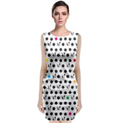 Boston Terrier Dog Pattern With Rainbow And Black Polka Dots Classic Sleeveless Midi Dress