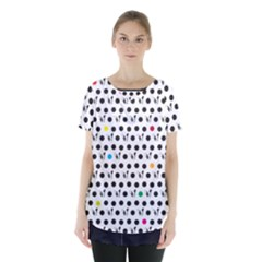 Boston Terrier Dog Pattern With Rainbow And Black Polka Dots Skirt Hem Sports Top