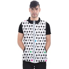 Boston Terrier Dog Pattern With Rainbow And Black Polka Dots Men s Puffer Vest by genx