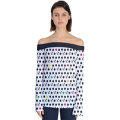 Boston Terrier Dog Pattern With Rainbow And Black Polka Dots Off Shoulder Long Sleeve Top by genx