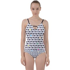 Boston Terrier Dog Pattern With Rainbow And Black Polka Dots Cut Out Top Tankini Set