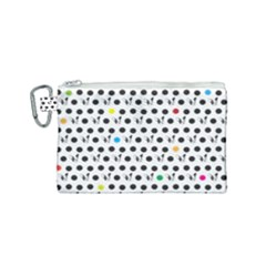Boston Terrier Dog Pattern With Rainbow And Black Polka Dots Canvas Cosmetic Bag (small)