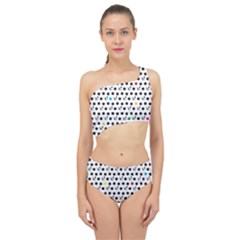 Boston Terrier Dog Pattern With Rainbow And Black Polka Dots Spliced Up Two Piece Swimsuit by genx