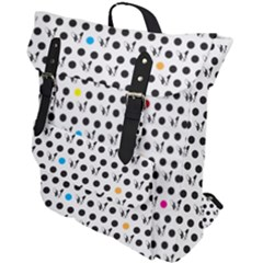 Boston Terrier Dog Pattern With Rainbow And Black Polka Dots Buckle Up Backpack