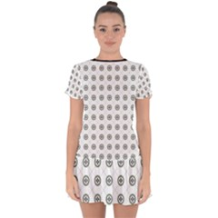 Logo Kekistan Pattern Elegant With Lines On White Background Drop Hem Mini Chiffon Dress