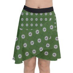 Logo Kekistan Pattern Elegant With Lines On Green Background Chiffon Wrap Front Skirt