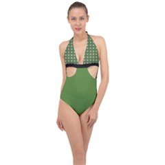 Logo Kekistan Pattern Elegant With Lines On Green Background Halter Front Plunge Swimsuit