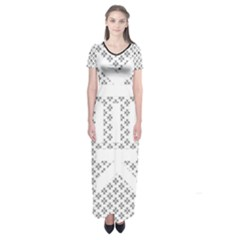 Logo Kek Pattern Black And White Kekistan Short Sleeve Maxi Dress by snek