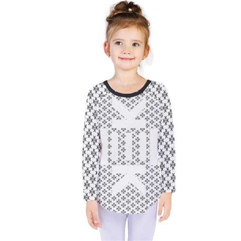 Logo Kek Pattern Black And White Kekistan Kids  Long Sleeve Tee by snek