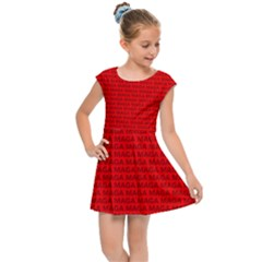 Maga Make America Great Again Usa Pattern Red Kids Cap Sleeve Dress by snek