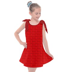 Maga Make America Great Again Usa Pattern Red Kids  Tie Up Tunic Dress by snek