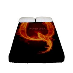 Qanon Letter Q Fire Effect Wwgowga Wwg1wga Fitted Sheet (full/ Double Size) by snek