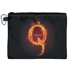 Qanon Letter Q Fire Effect Wwgowga Wwg1wga Canvas Cosmetic Bag (xxl)