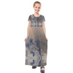 Deep Time Clouds Kids  Short Sleeve Maxi Dress by LoolyElzayat