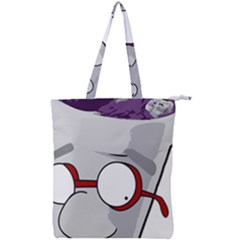 Purple Cup Nerd Double Zip Up Tote Bag