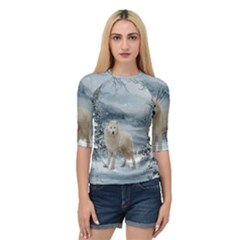 Wonderful Arctic Wolf In The Winter Landscape Quarter Sleeve Raglan Tee by FantasyWorld7