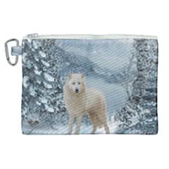 Wonderful Arctic Wolf In The Winter Landscape Canvas Cosmetic Bag (xl) by FantasyWorld7