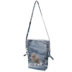 Wonderful Arctic Wolf In The Winter Landscape Folding Shoulder Bag by FantasyWorld7