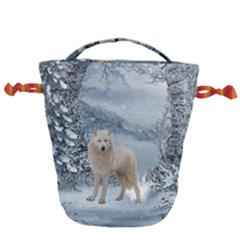 Wonderful Arctic Wolf In The Winter Landscape Drawstring Bucket Bag by FantasyWorld7