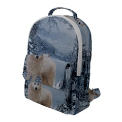 Wonderful Arctic Wolf In The Winter Landscape Flap Pocket Backpack (large)