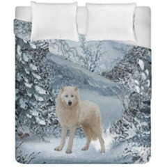 Wonderful Arctic Wolf In The Winter Landscape Duvet Cover Double Side (california King Size) by FantasyWorld7