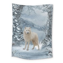 Wonderful Arctic Wolf In The Winter Landscape Medium Tapestry by FantasyWorld7