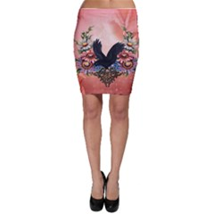 Wonderful Crow With Flowers On Red Vintage Dsign Bodycon Skirt