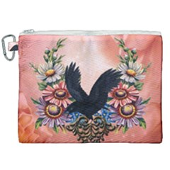 Wonderful Crow With Flowers On Red Vintage Dsign Canvas Cosmetic Bag (xxl)