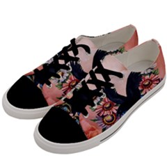 Wonderful Crow With Flowers On Red Vintage Dsign Men s Low Top Canvas Sneakers by FantasyWorld7