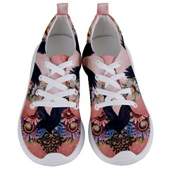 Wonderful Crow With Flowers On Red Vintage Dsign Women s Lightweight Sports Shoes