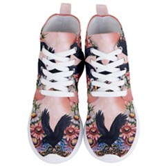 Wonderful Crow With Flowers On Red Vintage Dsign Women s Lightweight High Top Sneakers