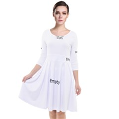 White Architectural Structure Quarter Sleeve Waist Band Dress