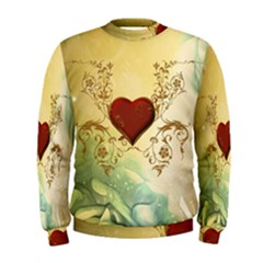 Wonderful Decorative Heart On Soft Vintage Background Men s Sweatshirt