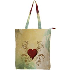 Wonderful Decorative Heart On Soft Vintage Background Double Zip Up Tote Bag