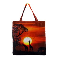 Animals Birds Dawn Giraffe Grocery Tote Bag