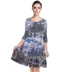 Architecture Big Ben Bridge Buildings Quarter Sleeve Waist Band Dress