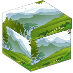 Forest Landscape Photography Illustration Storage Stool 12