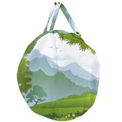 Forest Landscape Photography Illustration Giant Round Zipper Tote