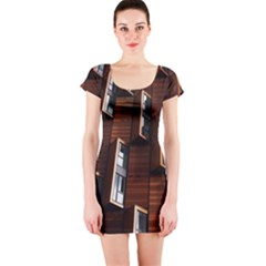 Abstract Architecture Building Business Short Sleeve Bodycon Dress