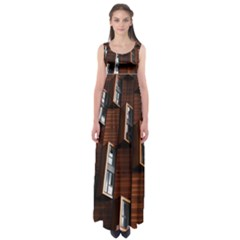 Abstract Architecture Building Business Empire Waist Maxi Dress